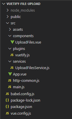 vuetify-file-upload-example-project-structure