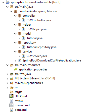 spring-boot-download-csv-file-example-project-structure