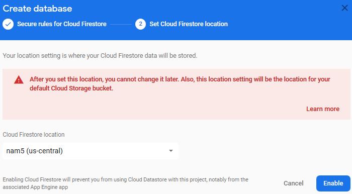 vue-firestore-crud-app-set-cloud-firestore-location