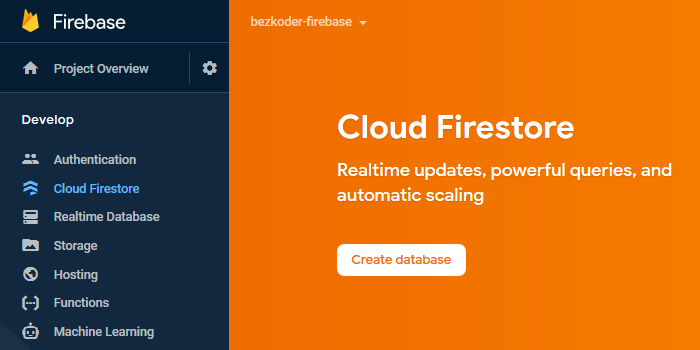 vue-firestore-crud-create-database